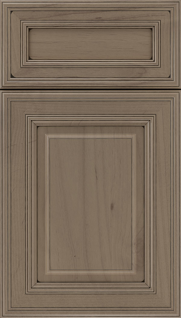 Chamberlain 5pc Alder raised panel cabinet door in Winter with Black glaze