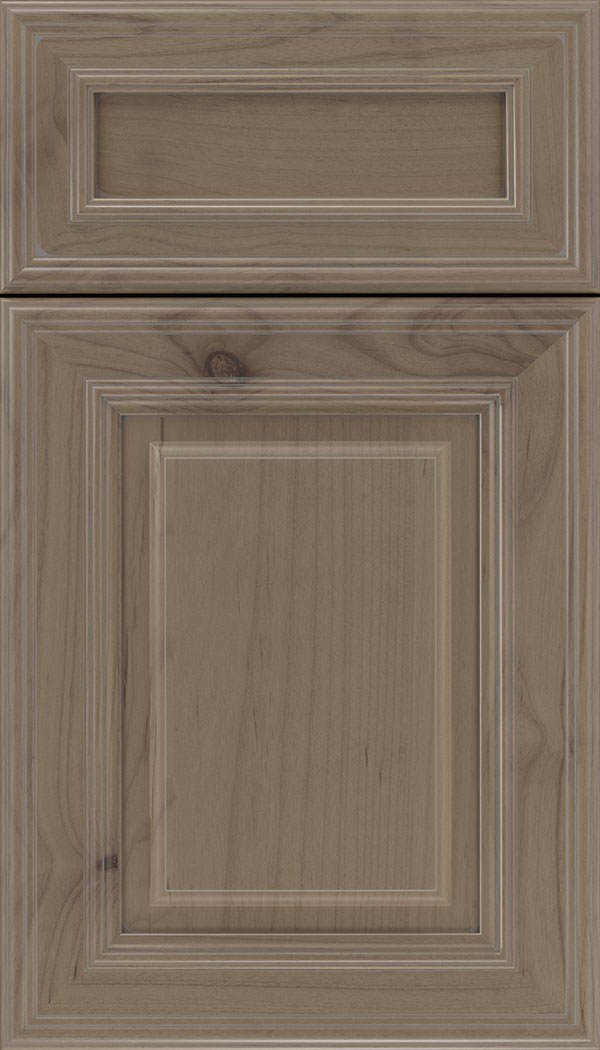 Chamberlain 5pc Alder raised panel cabinet door in Winter with Pewter glaze