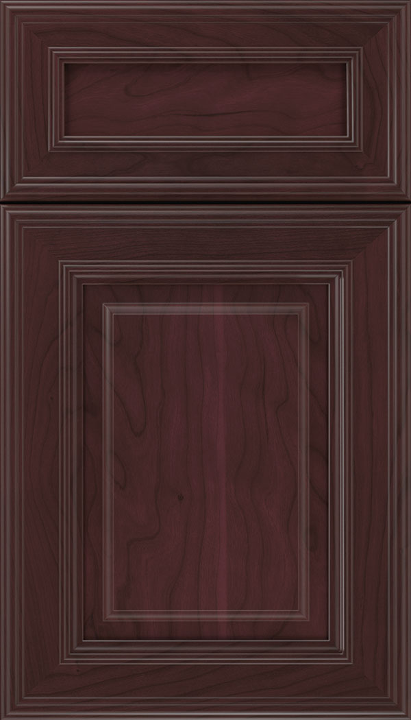 Chamberlain 5pc Cherry raised panel cabinet door in Bordeaux
