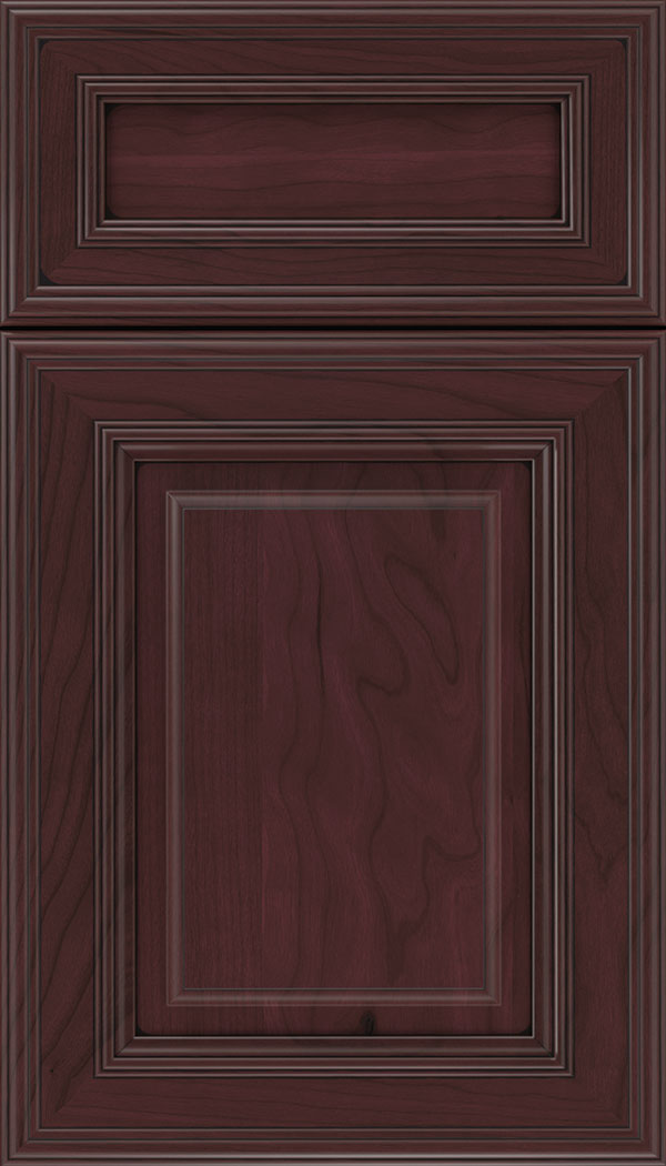 Chamberlain 5pc Cherry raised panel cabinet door in Bordeaux with Black glaze