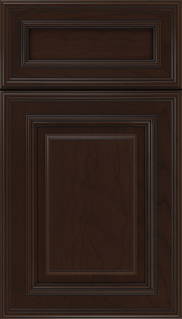 Chamberlain 5pc Cherry raised panel cabinet door in Cappuccino with Black glaze