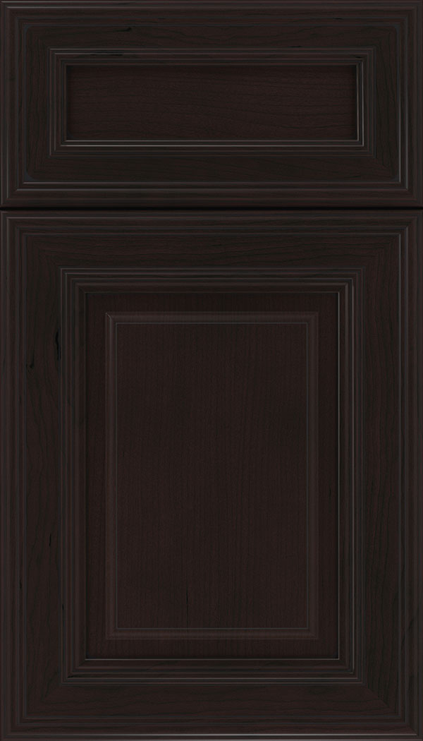 Chamberlain 5pc Cherry raised panel cabinet door in Espresso with Black glaze