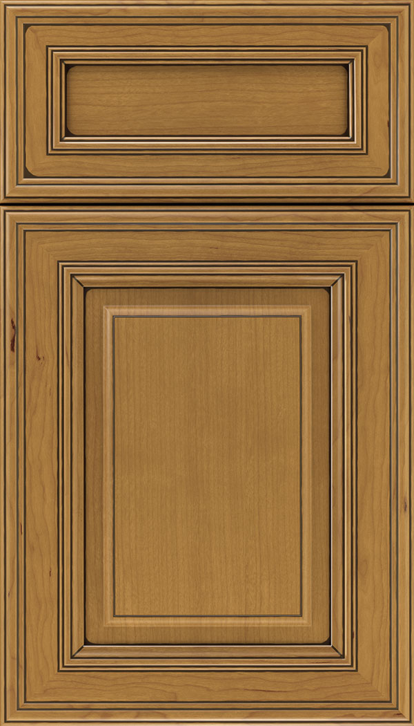 Chamberlain 5pc Cherry raised panel cabinet door in Ginger with Black glaze