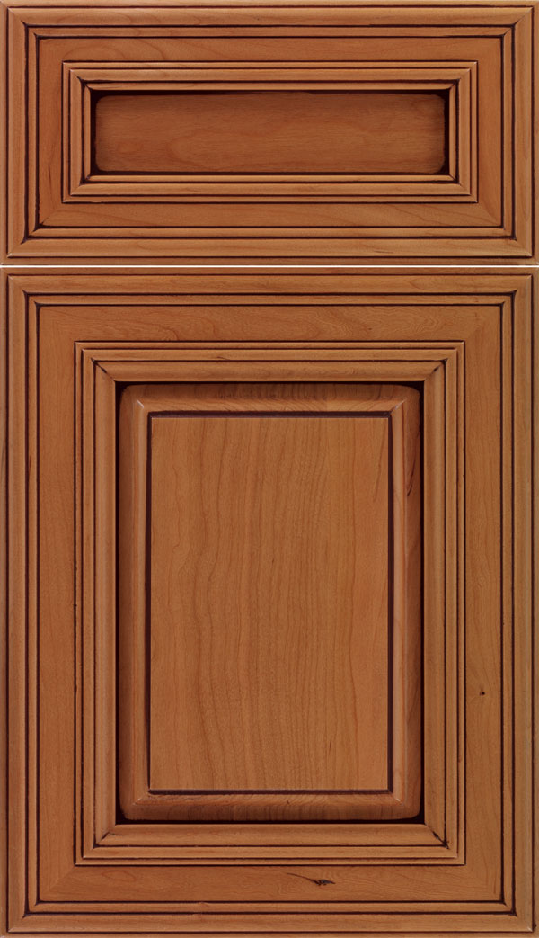 Chamberlain 5pc Cherry raised panel cabinet door in Ginger with Mocha glaze