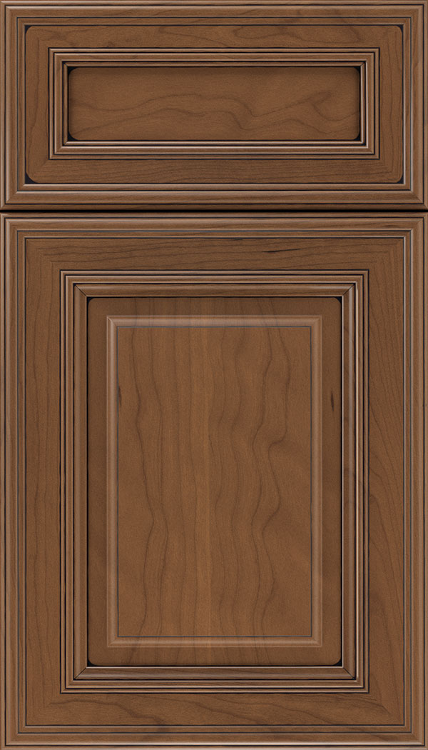 Chamberlain 5pc Cherry raised panel cabinet door in Nutmeg with Black glaze