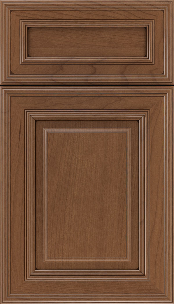 Chamberlain 5pc Cherry raised panel cabinet door in Nutmeg with Mocha glaze