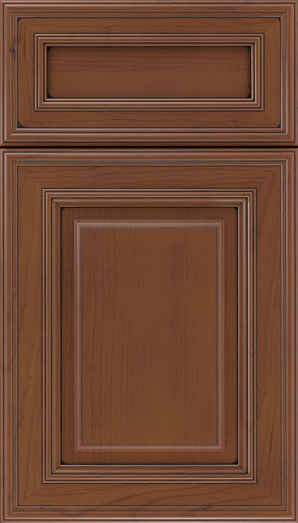 Chamberlain 5pc Cherry raised panel cabinet door in Russet with Black glaze
