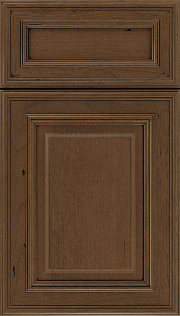 Chamberlain 5pc Cherry raised panel cabinet door in Sienna with Black glaze