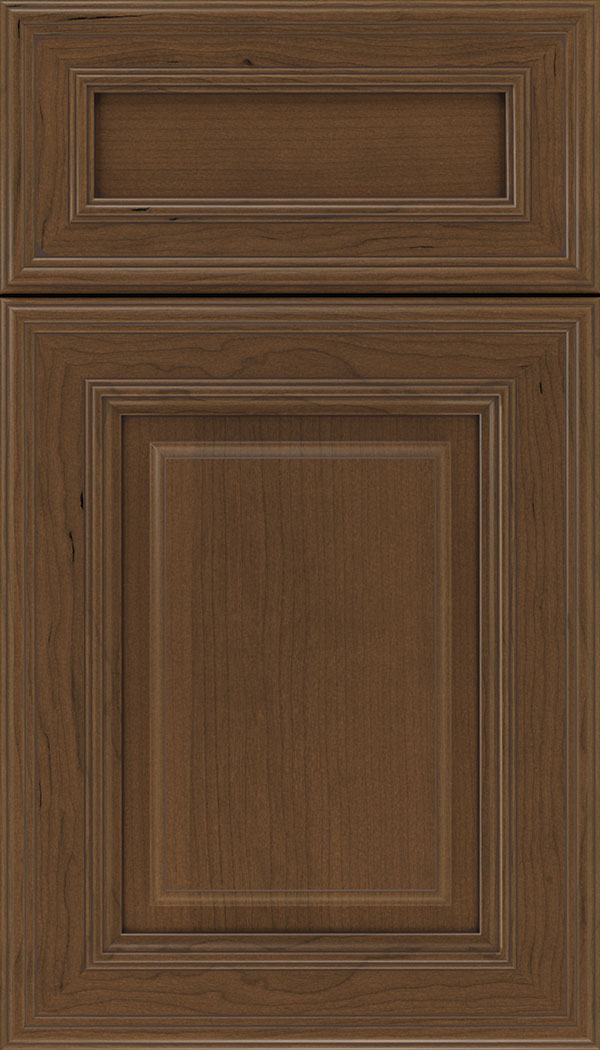 Chamberlain 5pc Cherry raised panel cabinet door in Sienna with Mocha glaze