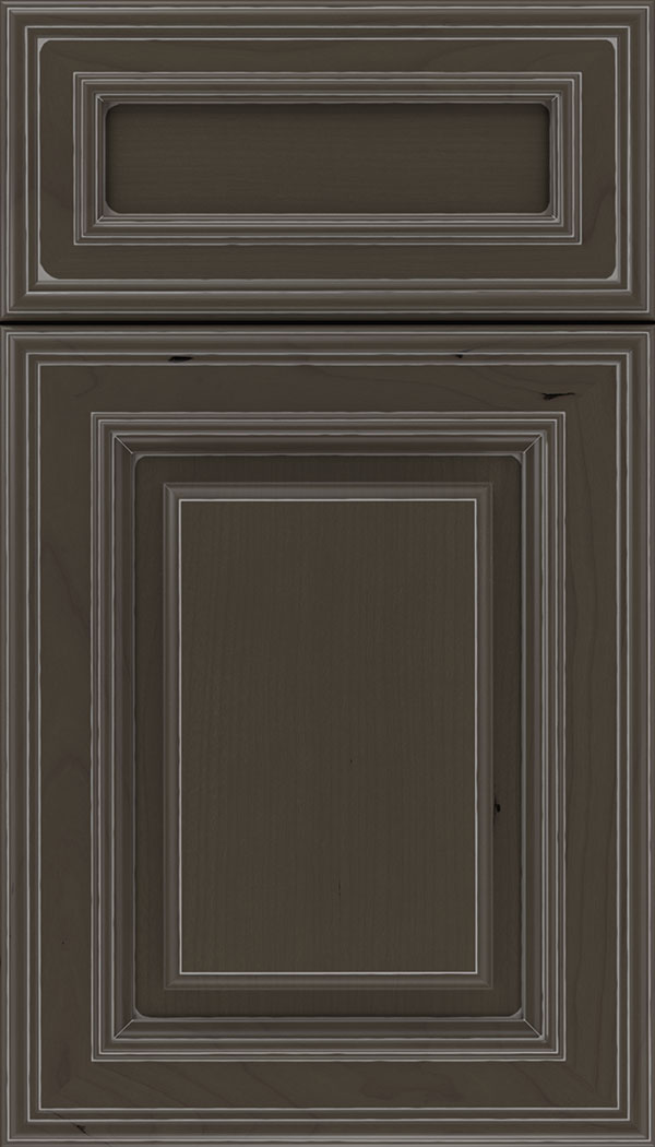 Chamberlain 5pc Cherry raised panel cabinet door in Thunder with Pewter glaze