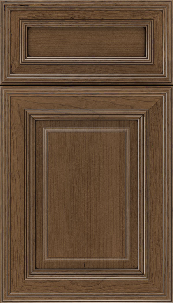 Chamberlain 5pc Cherry raised panel cabinet door in Toffee with Mocha glaze