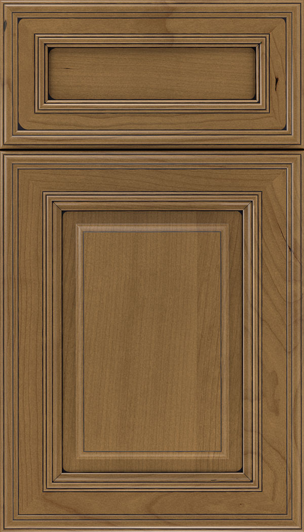 Chamberlain 5pc Cherry raised panel cabinet door in Tuscan with Black glaze