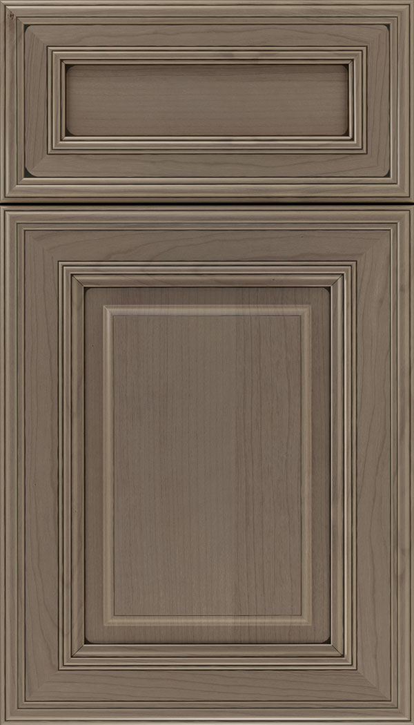 Chamberlain 5pc Cherry raised panel cabinet door in Winter with Black glaze
