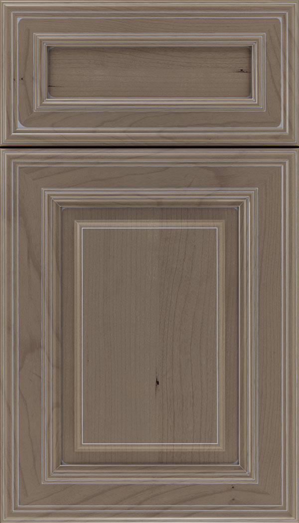 Chamberlain 5pc Cherry raised panel cabinet door in Winter with Pewter glaze