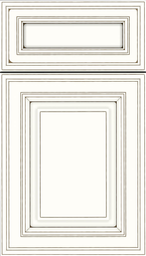 Chamberlain 5pc Maple raised panel cabinet door in Alabaster with Smoke glaze