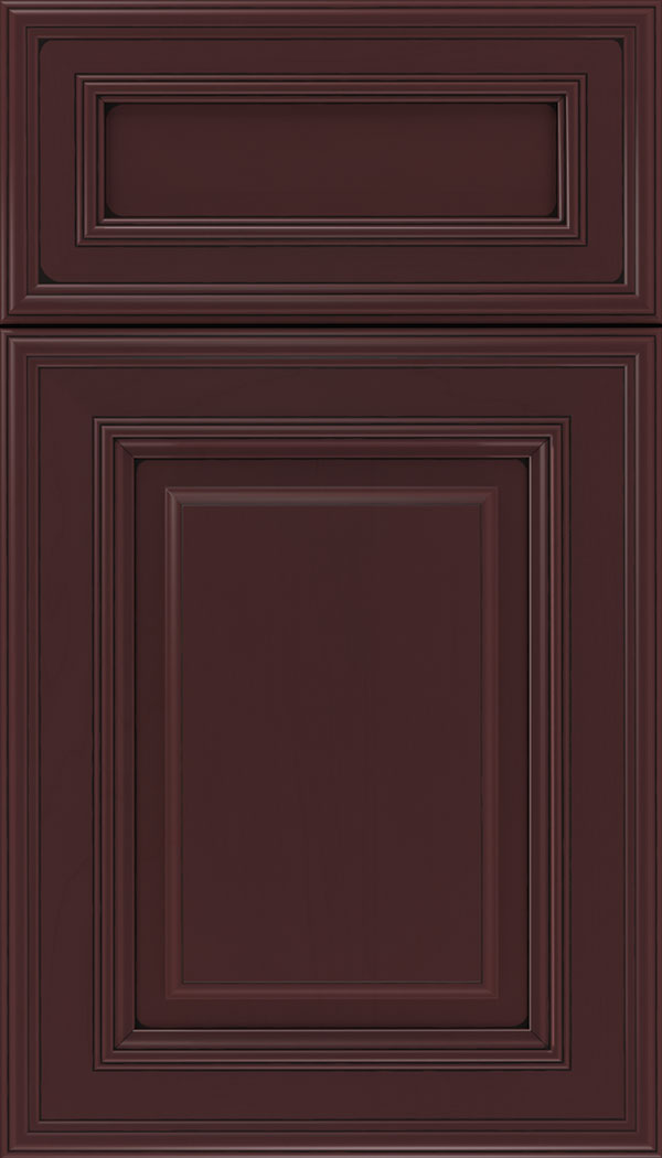 Chamberlain 5pc Maple raised panel cabinet door in Bordeaux with Black glaze