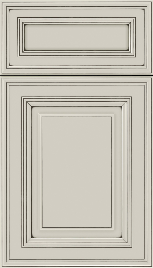 Chamberlain 5pc Maple raised panel cabinet door in Cirrus with Smoke glaze