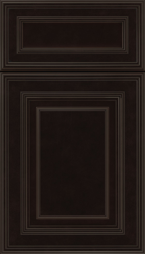 Chamberlain 5pc Maple raised panel cabinet door in Espresso with Black glaze