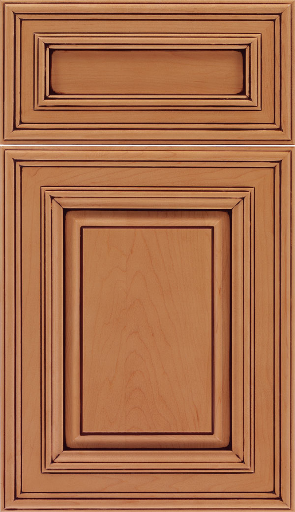 Chamberlain 5pc Maple raised panel cabinet door in Ginger with Mocha glaze