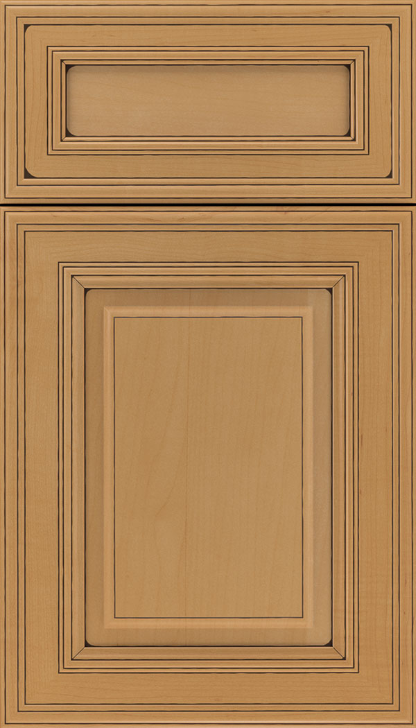 Chamberlain 5pc Maple raised panel cabinet door in Ginger with Black glaze