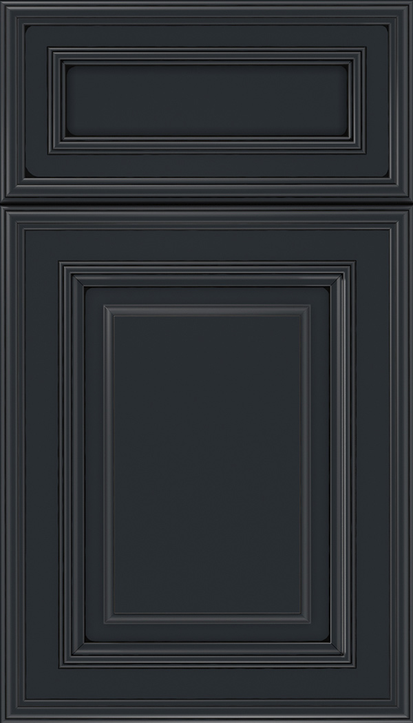Chamberlain 5pc Maple raised panel cabinet door in Gunmetal Blue with Black glaze