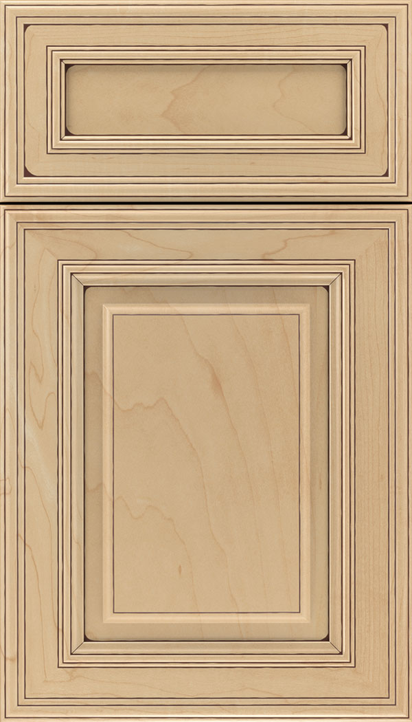 Chamberlain 5pc Maple raised panel cabinet door in Natural with Mocha glaze