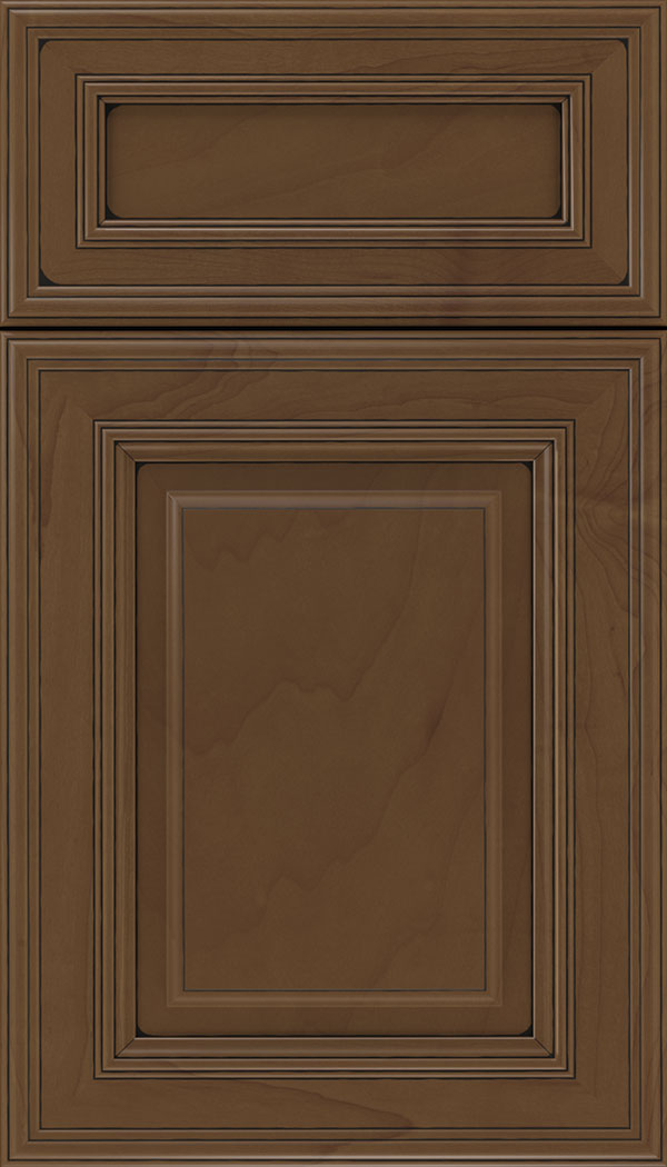 Chamberlain 5pc Maple raised panel cabinet door in Sienna with Black glaze