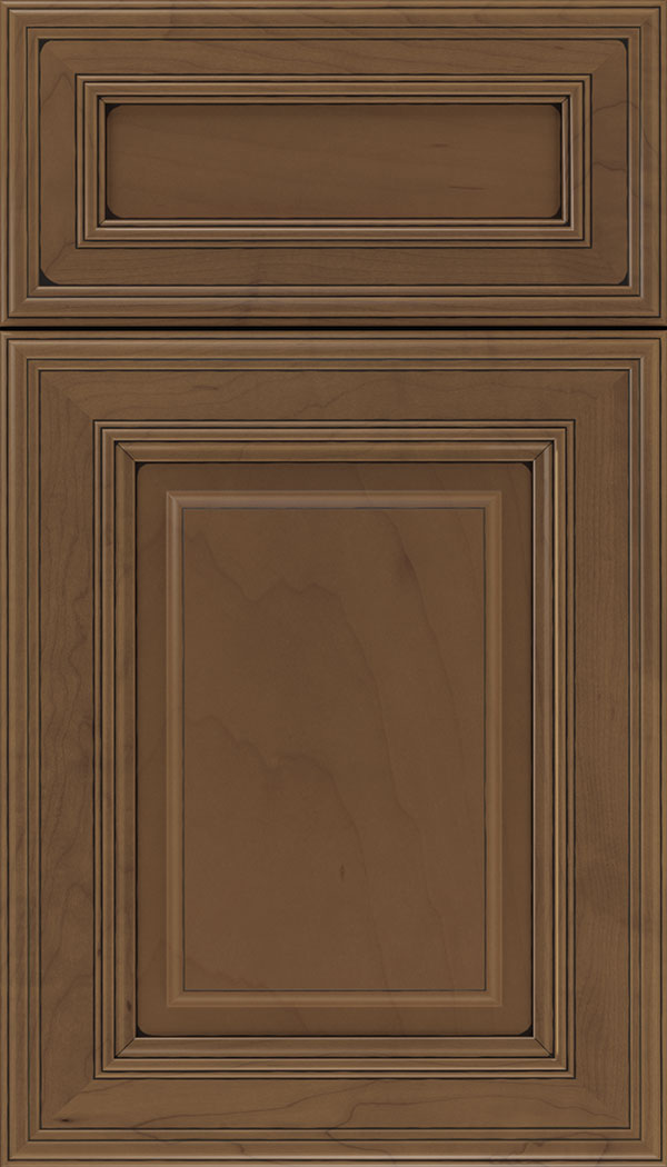 Chamberlain 5pc Maple raised panel cabinet door in Toffee with Black glaze