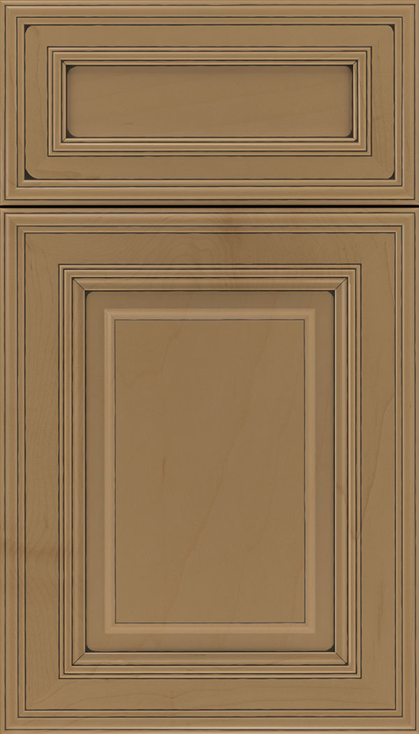 Chamberlain 5pc Maple raised panel cabinet door in Tuscan with Black glaze