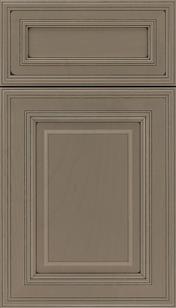 Chamberlain 5pc Maple raised panel cabinet door in Winter with Black glaze