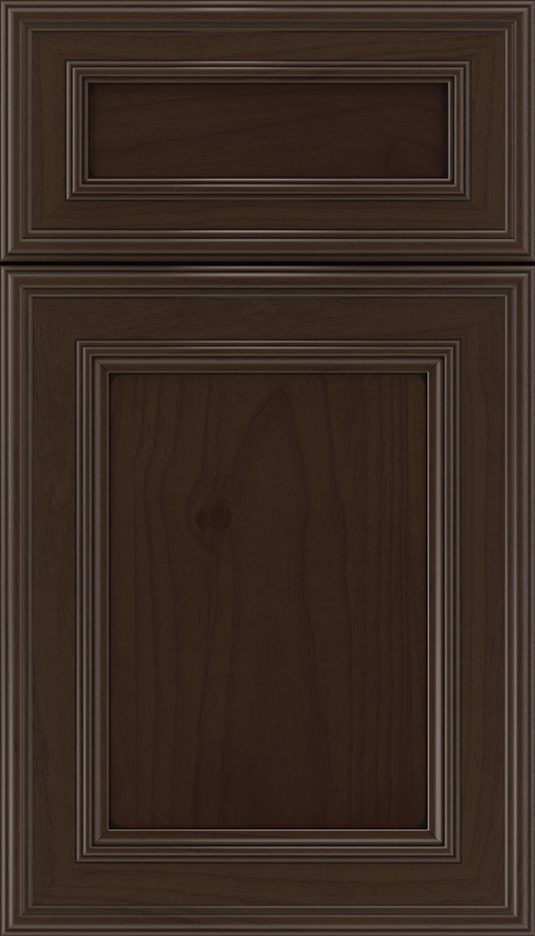 Chatham 5pc Alder recessed panel cabinet door in Cappuccino with Black glaze