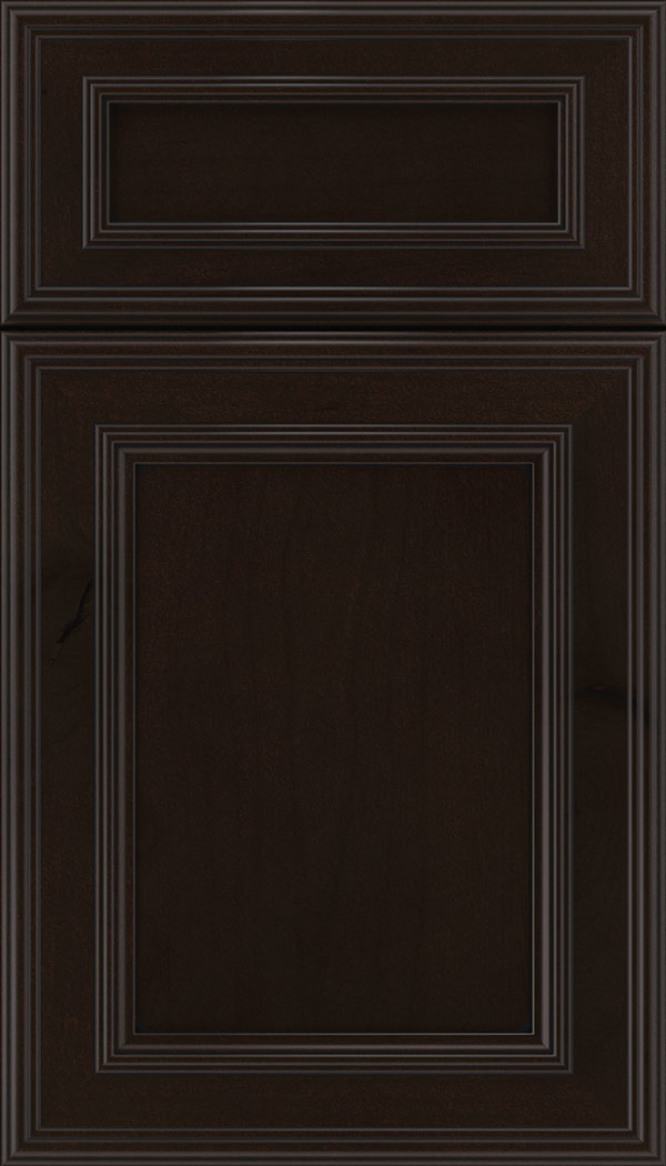 Chatham 5pc Alder recessed panel cabinet door in Espresso with Black glaze