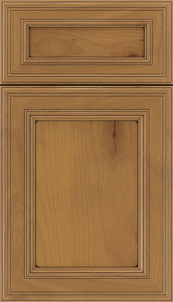 Chatham 5pc Alder recessed panel cabinet door in Ginger with Black glaze