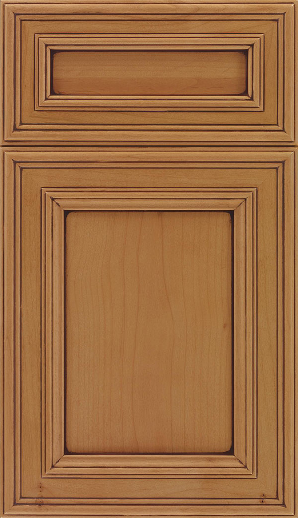 Chatham 5pc Alder recessed panel cabinet door in Ginger with Mocha glaze
