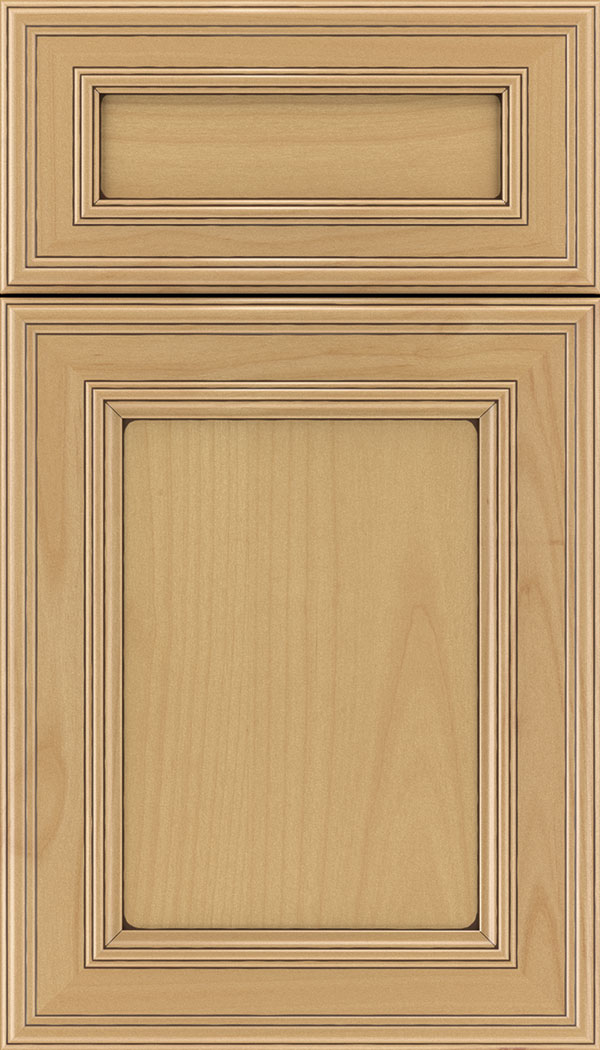 Chatham 5pc Alder recessed panel cabinet door in Natural with Mocha glaze