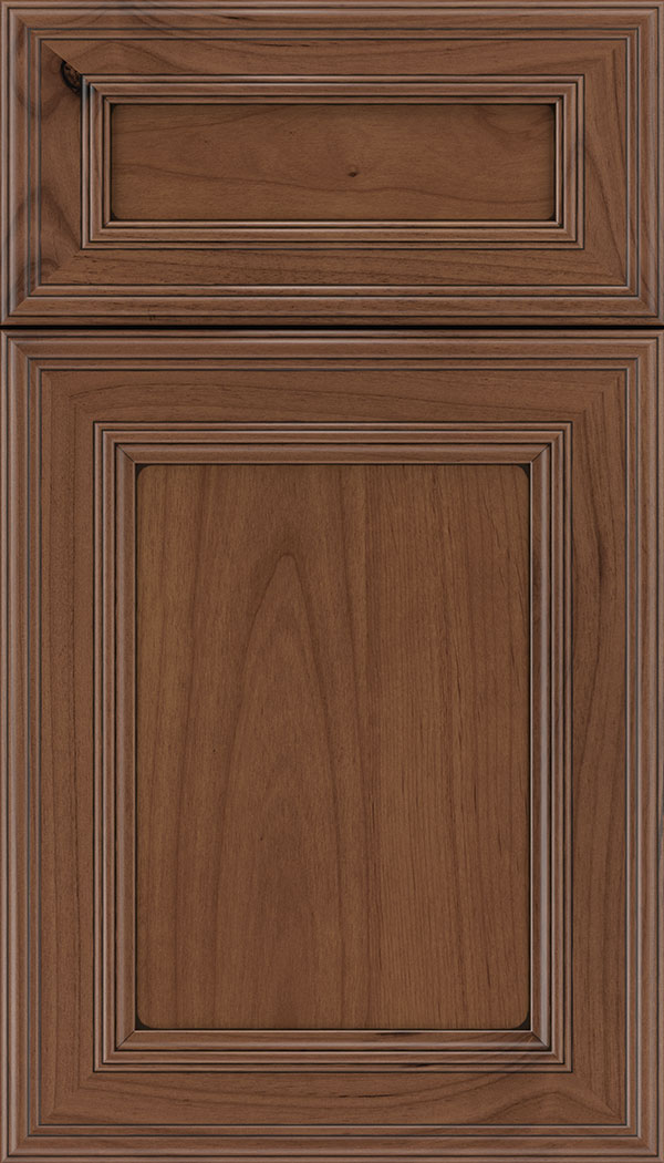 Chatham 5pc Alder recessed panel cabinet door in Nutmeg with Black glaze