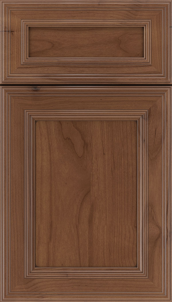 Chatham 5pc Alder recessed panel cabinet door in Nutmeg with Mocha glaze