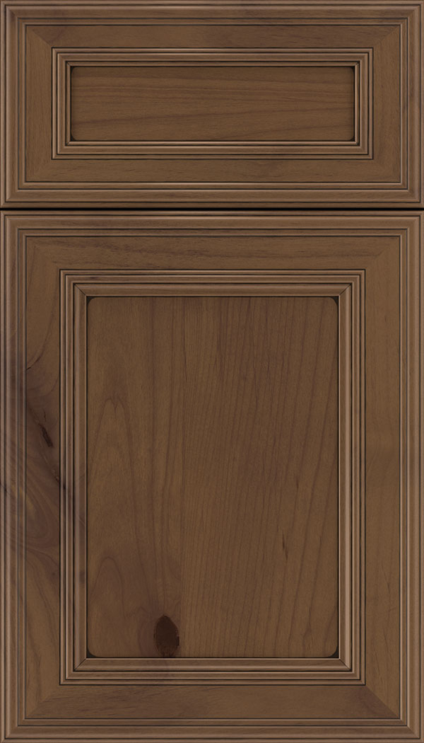 Chatham 5pc Alder recessed panel cabinet door in Sienna with Black glaze