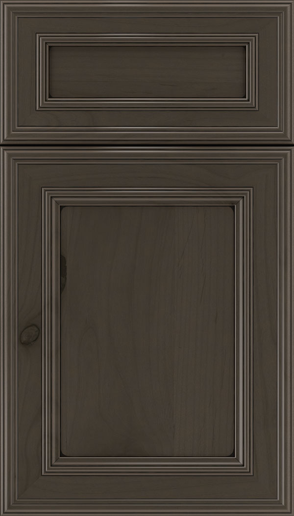 Chatham 5pc Alder recessed panel cabinet door in Thunder with Black glaze