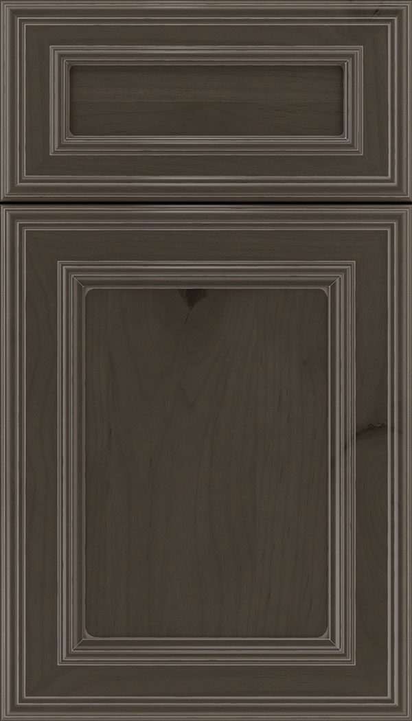 Chatham 5pc Alder recessed panel cabinet door in Thunder with Pewter glaze