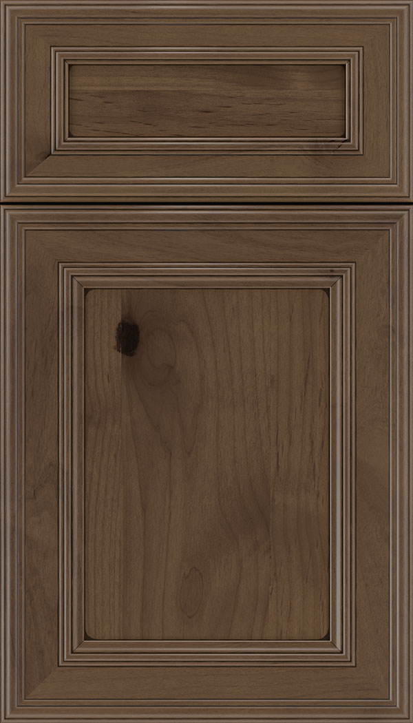 Chatham 5pc Alder recessed panel cabinet door in Toffee with Black glaze