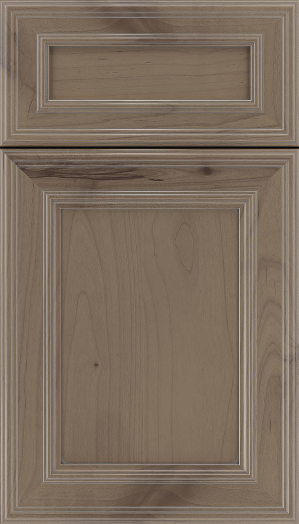 Chatham 5pc Alder recessed panel cabinet door in Winter with Pewter glaze