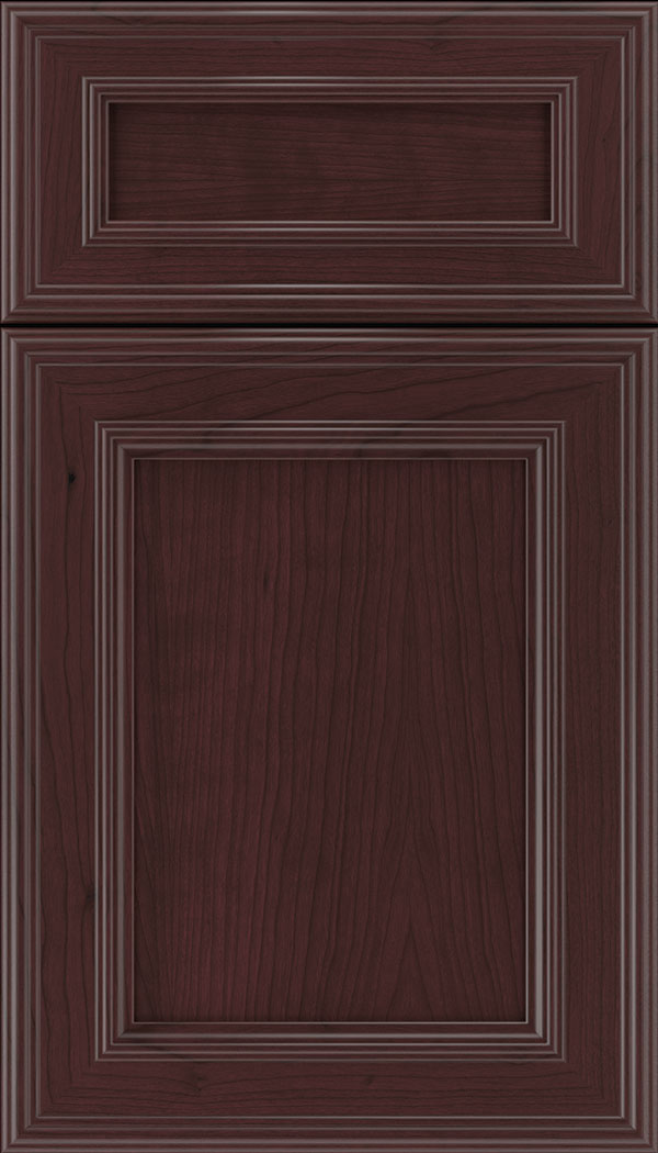 Chatham 5pc Cherry recessed panel cabinet door in Bordeaux