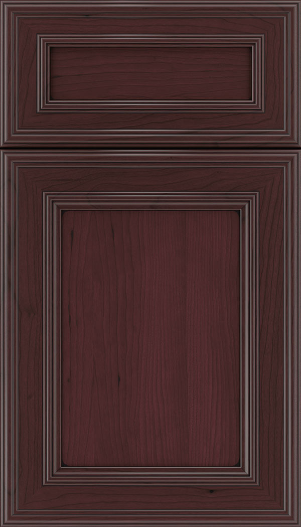 Chatham 5pc Cherry recessed panel cabinet door in Bordeaux with Black glaze