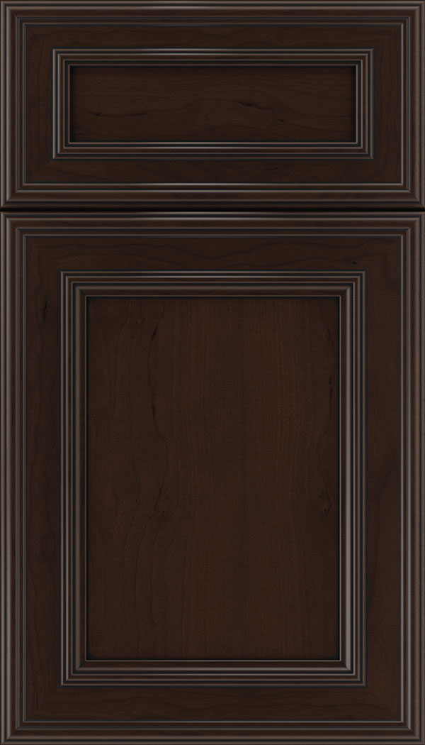 Chatham 5pc Cherry recessed panel cabinet door in Cappuccino with Black glaze