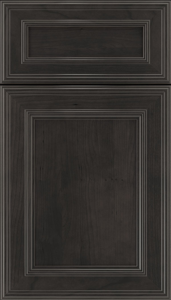 Chatham 5pc Cherry recessed panel cabinet door in Charcoal