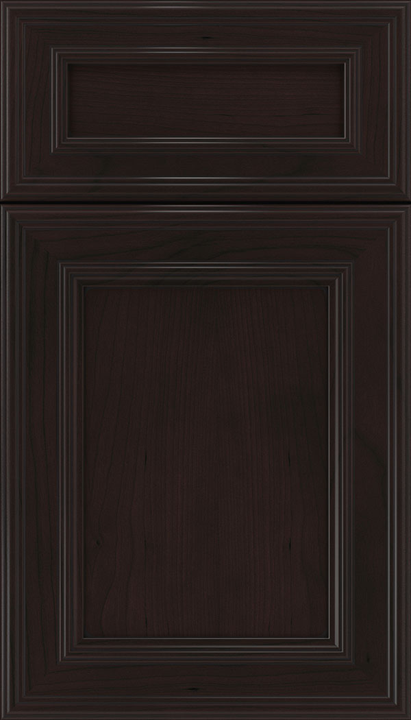 Chatham 5pc Cherry recessed panel cabinet door in Espresso with Black glaze