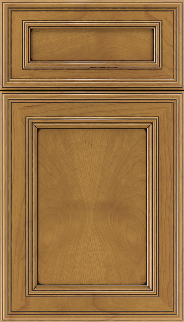 Chatham 5pc Cherry recessed panel cabinet door in Ginger with Black glaze