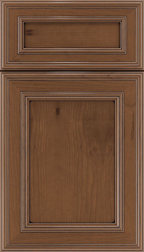 Chatham 5pc Cherry recessed panel cabinet door in Nutmeg with Black glaze