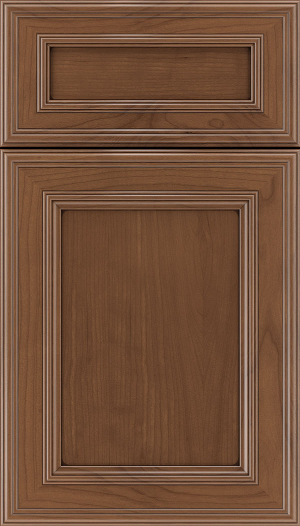 Chatham 5pc Cherry recessed panel cabinet door in Nutmeg with Mocha glaze